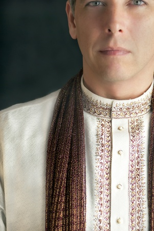 kurta: A close-up shot of a peaceful man in traditional Indian clothing.