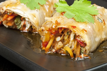 Close-up of spring rolls. Stock Photo - 9807013