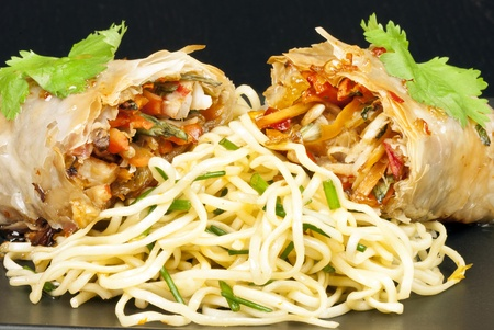 Close-up of spring roll on noodles. Stock Photo - 9807014