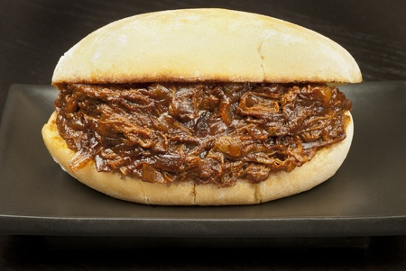 Close-up of a pulled pork sandwich. photo