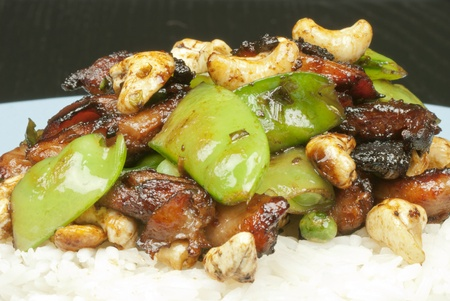 Tight close-up of chicken cashew, side view Stock Photo - 10376346