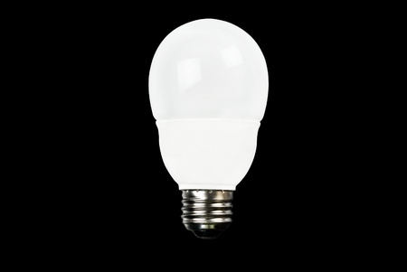 Close-up of an energy efficient white light bulb.