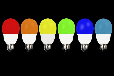 differnt: Close-up of a line of lightbulbs, each a differnt color.