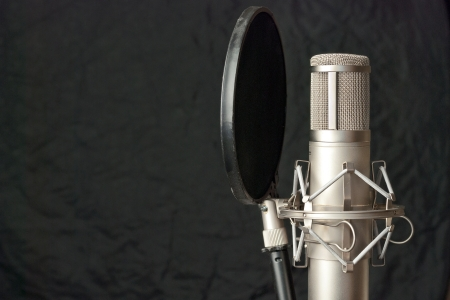 recording: Close-up of a condenser microphone.