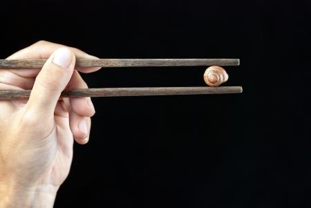Close-up of a hand holding an empty snail shell using chopsticks