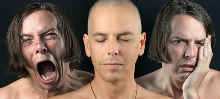 Close-up of a man in three conflicting emotional states  calm   meditative, pain, and depression  photo