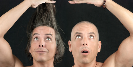 shaved head: Close-up of a man with long hair held up, next to the same man with a newly shaved head  Stock Photo