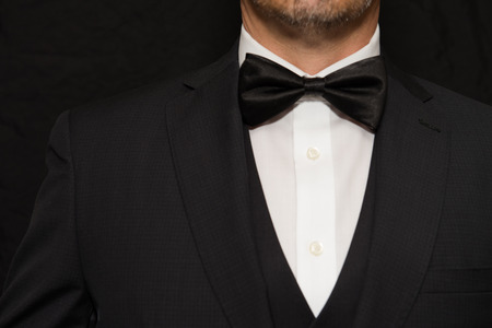 Close-up of a gentleman wearing Black Tie. 版權商用圖片