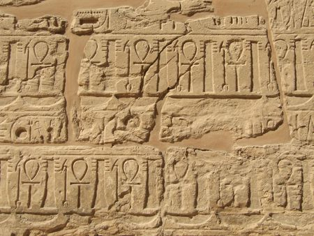 Ancient hieroglyphs in Karnak temple from Luxor photo