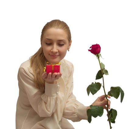 beauty Girl with gifts and red rose on white. Isolated Stock Photo - 2650001
