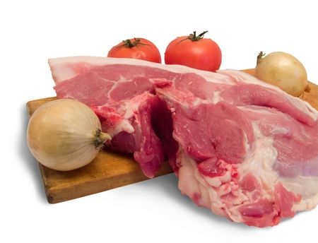 Ingridienty for a meal. Meat is pork photo