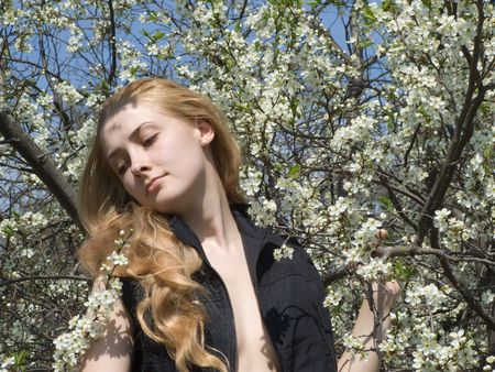 The young beautiful girl in blossoming cherry to a garden  photo