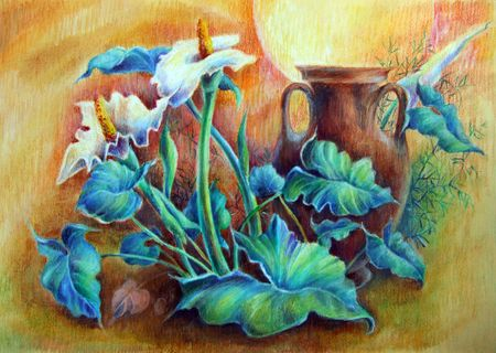 painting nature: Flowers painted in oil pastel on paper Stock Photo