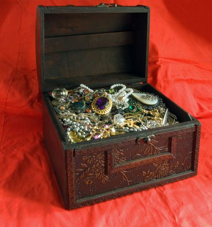 Wooden treasure chest with valuables Stock Photo - 3249337