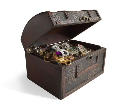 Wooden treasure chest with valuables Stock Photo
