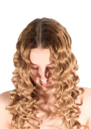 head of blond long-haired girl. Isolated on white photo