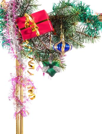 New-year borders wiht fir-tree on white background Stock Photo - 3516438