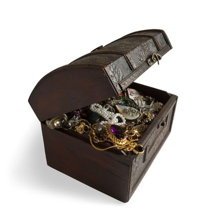 Wooden treasure chest with valuables,clipping path Stock Photo - 3604705