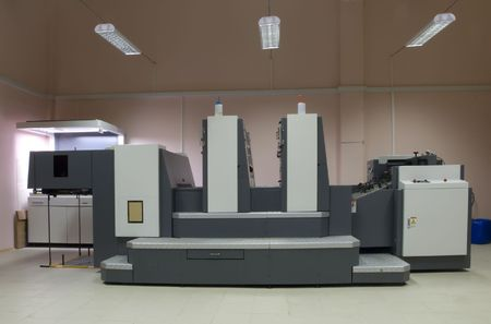 The offset two-section printed machine photo