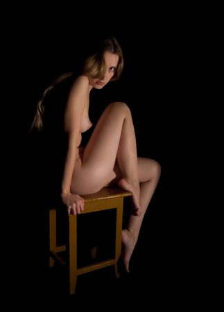 naked young woman: nudit� fille noire. Isol� Banque d'images
