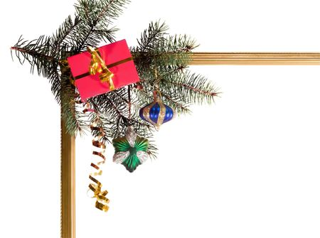 New-year borders wiht fir-tree on white Stock Photo - 3622145
