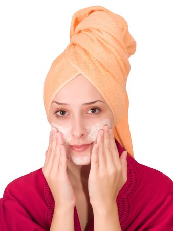 girl, making cosmetic mask Stock Photo - 3647101