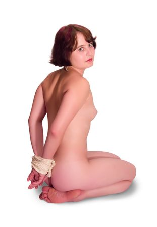 Rear view of a nude, tied with a rope Stock Photo - 3679794