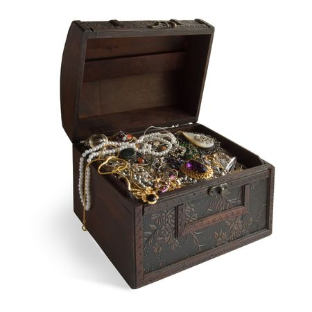 Wooden treasure chest with valuables,clipping path