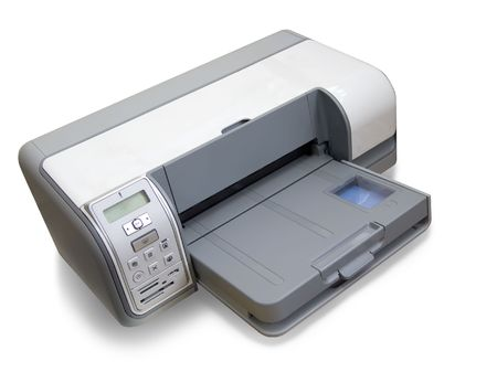 inkjet: impresora de chorro de tinta A4. Aislado en blanco con saturaci�n camino