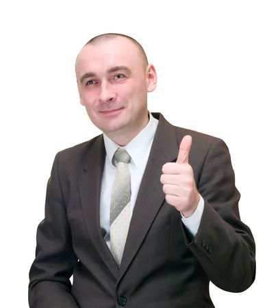 Businessman with thumb up. Isolated on white Stock Photo - 3730388