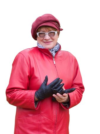 Smiling old lady in red holds a black glove Stock Photo - 3747524