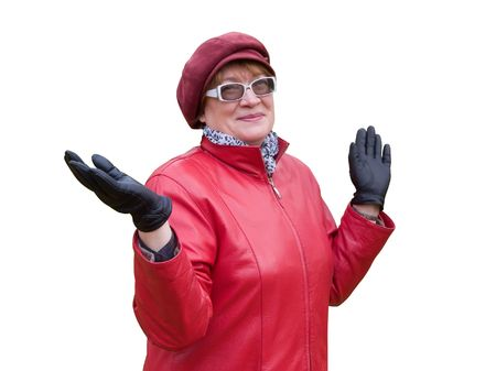 Smiling old lady in red stays in autumn park. Stock Photo - 3747523