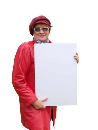 Smiling old lady in red holds an empty poster. Stock Photo - 3747517