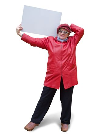 Smiling old lady in red holds an empty poster. Stock Photo - 3777782