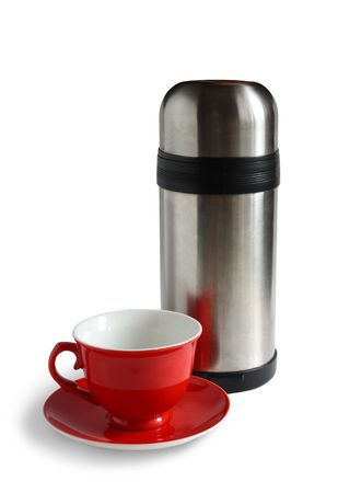 Tea cap and vacuum flask.  Stock Photo - 3876119
