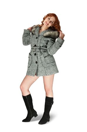 Woman in gray coat Stock Photo - 3914356