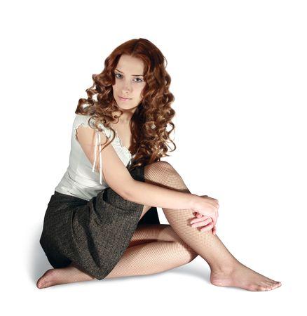 cabello casta�o claro: Sexual de pelo largo en la falda chica en blanco