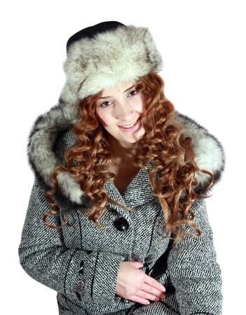 furskin: Girl in coat and polar fox cap