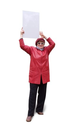 Smiling old lady in red holds an empty poster.  Stock Photo - 3978337