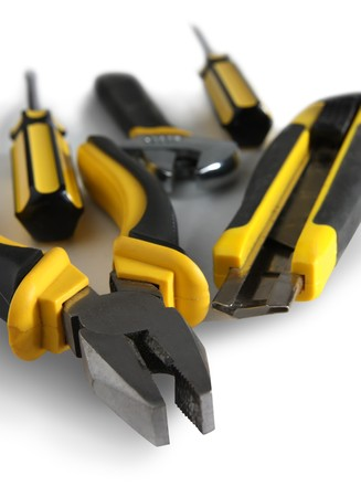 set of yellow tools over white background  Stock Photo