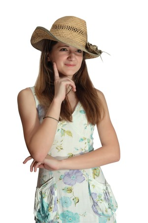 summer wear: pretty teenager girl in a dress for summer wear. isolated