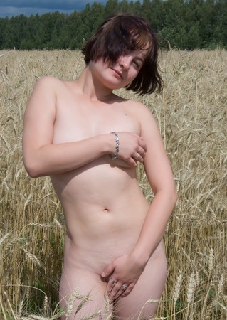 nude nature: A nudity girl is in rye field