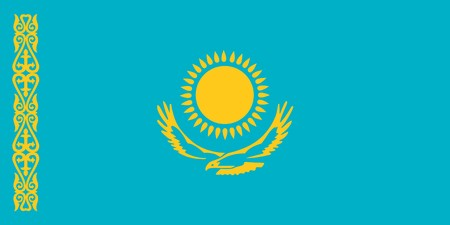kazakhstan: Kazakhstan national flag. Illustration on white background