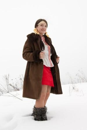 sheepskin: joven de piel de oveja y los zapatos de piel de alta Foto de archivo