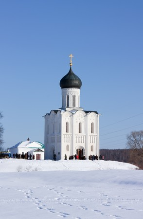 Church of the Intercession on the River Nerl in winter photo