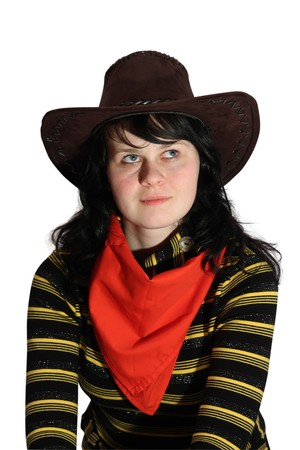 portrait of young  woman dressed like cowboy photo