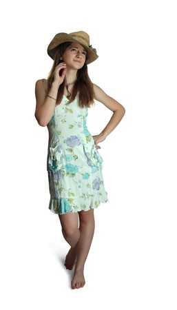 summer wear: pretty teenager girl in a dress for summer wear Stock Photo