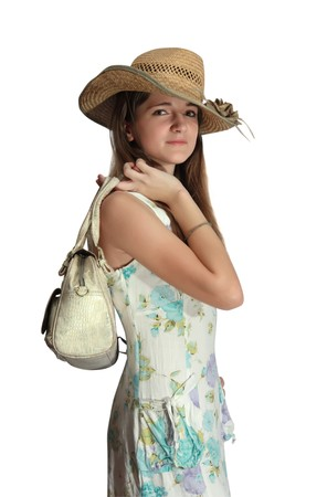 summer wear: pretty teenager girl in a dress for summer wear with handbag