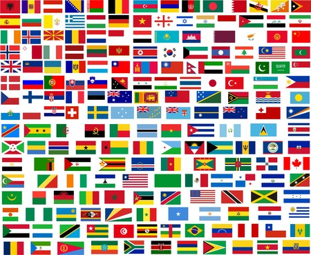Flags of all world countries. Illustration over white background illustration