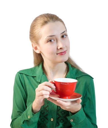 girl in green blouse with red cup. Isolated photo